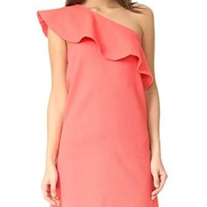 Cupcakes and Cashmere coral one shoulder dress